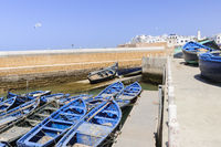 City view of Essaouira with fishing boat, Morocco, Africa.