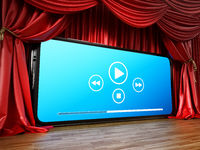 Smartphone with media control icons at the stage among red curtains. 3D illustration