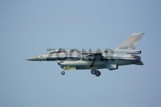 Leeuwarden, Netherlands Apr 10, 2015: Polish F-16 Landing at Frisian Flag