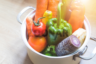 Healthy eating: Topview of fresh organic vegetables in the kitchen