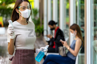 New normal waitress with social distancing queue