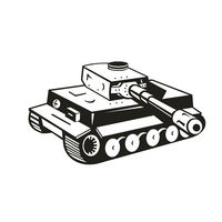 World War Two German Panzer Tank Retro Black and White