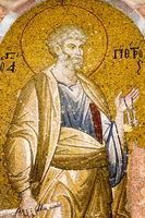 Saint Peter with the keys of heaven and a scroll. Mosaic in Cora Church, Istanbu