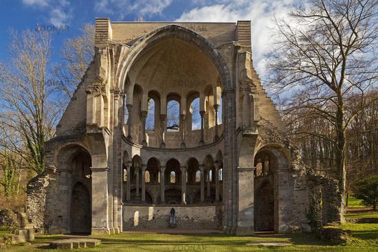 Choir ruin Heisterbach Abbey, Cistercian Abbey in the Siebengebirge, Koenigswinter, Germany, Europe