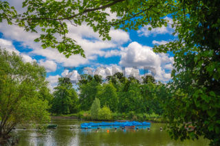 Empty blue paddle boats in London Park