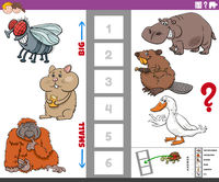 educational game with big and small cartoon animals for children