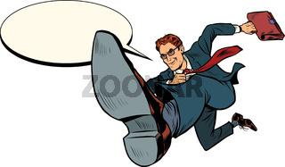 a successful businessman jumps forward