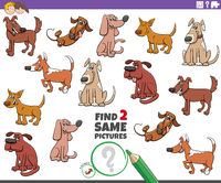 find two same dogs educational task for children