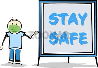 stickman wearing protective face mask holding sign with text STAY SAFE