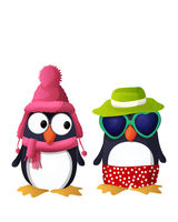 Vector penguin characters dressed in winter and summer clothes over white background