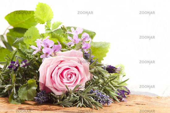 Rose bouquet with herbs