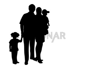 Silhouette family with two children