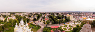 Drohobych, Ukraine - September 07, 2019: Aerial drone view 180 degrees landscape of Drohobych town. Cityscape of older European town