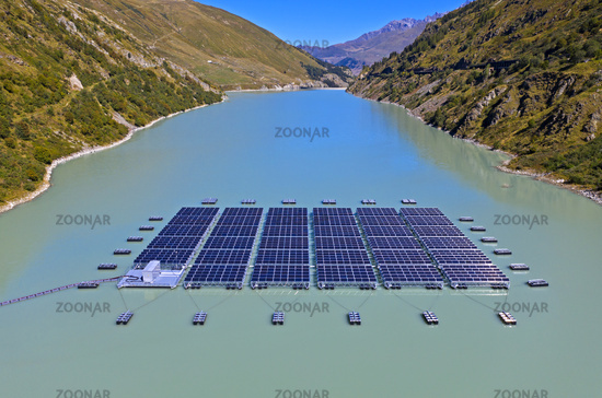 high altitude floating solar power plant, Lac des Toules, Bourg-Saint-Pierre, Valais, Switzerland