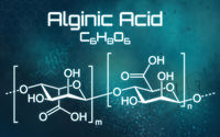 Chemical formula of Alginic acid on a futuristic background