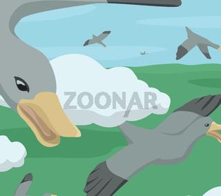 Wild Geese Migrating Cartoon