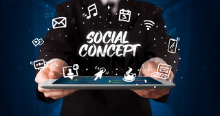 Person holding tablet, social network concept