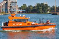 Pilot boat entering the port of Swinoujscie on the Polish Baltic coast