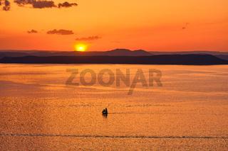 Vladivostok, Russia - Jun 11, 2020: view of the Amur Bay at sunset.