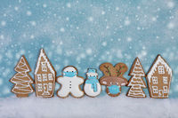 Christmas card with ginger cookies.