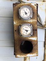 old rusty industrial thermometers