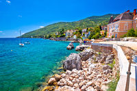 Town of Lovran coastline villas and turquoise sea view,