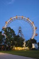 Illuminated Ferris wheel at the Prater, Vienna