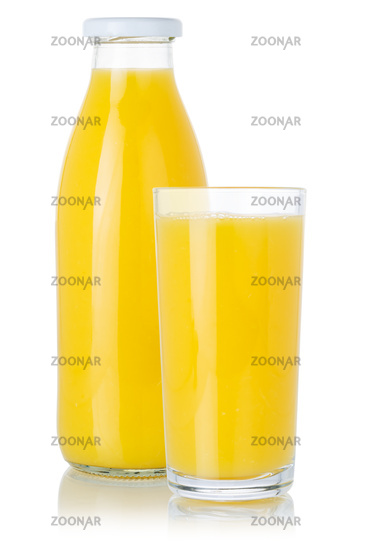Fresh orange fruit juice smoothie drink in a bottle and glass isolated on white