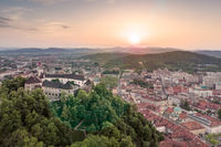 Aerial panorama of Ljubljana, capital of Slovenia, at sunset
