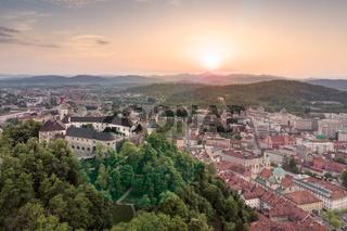 Aerial panorama of Ljubljana, capital of Slovenia, at sunset