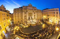 Elevated view of Trevi Fountain at dusk.
