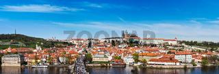 Panorama of Prague: Mala Strana,  Charles bridge and Prague cast