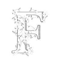 Letter F floral sketch