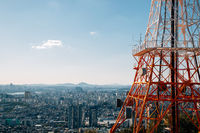 Panoramic view of Seoul city from Namsan tower in Seoul, Korea