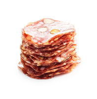 Sliced italian salami with hazelnuts.