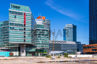 View on Donau City Buildings with Construction Area in Danube City, Vienna, Austria, Europe