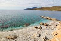 The beach Zastani of Marmari in Evia island, Greece