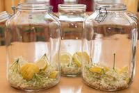 Homemade juice with elderflower and lemon - elderberry syrup