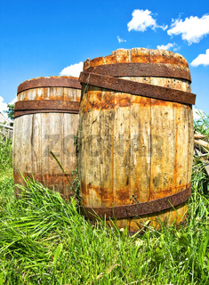 Old wooden barrels stand on the grass