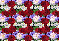 Horizontal seamless background with roses dahlias