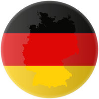 round german flag and map of germany outline sticker
