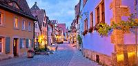 Rothenburg ob der Tauber. German street architecture of medieval German town of Rothenburg ob der Tauber evening panoramic view.