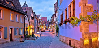 Rothenburg ob der Tauber. German street architecture of medieval German town of Rothenburg ob der Tauber evening panoramic view.