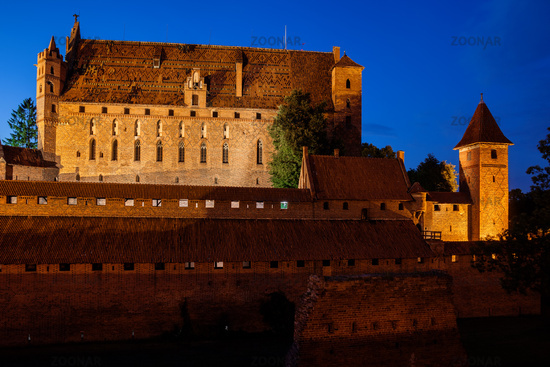 High Castle of Malbork Castle in Poland at Night