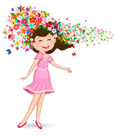 Happy girl with flowers and butterflies