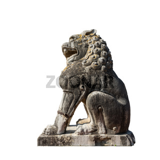ancient stone lion isolated