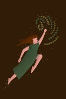 Flying girl with flowers in earth tones. Natural lifestyle, florist woman