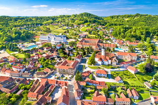 Town of Varazdinske Toplice in green hillside landscape aerial view