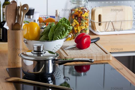 Worktop with many Kitchen Utensils