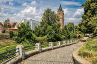 Delitzsch, Germany - 06/19/2019 - City Park with the wide tower